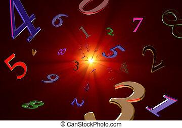 kennis, over, (numerology)., getallen, magisch