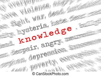 kennis, tekst, brandpunt, effect, zoom, blured