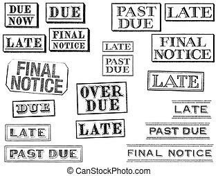 kennisgeving, eind-, laat, schuldig, verontruste, postzegels, voorbij