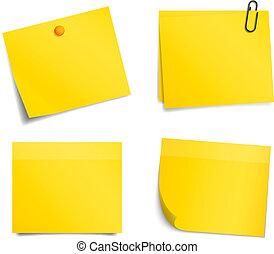 kennisgeving, gele, vector, achtergrond, witte , stickers