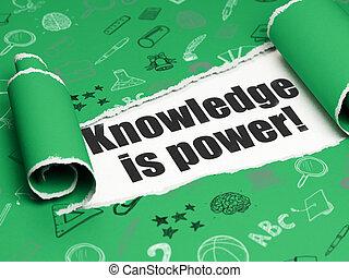 kenntnis, studieren, zerrissene , power!, papier, schwarz, unter, stück, text, concept: