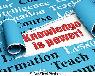 kenntnis, studieren, zerrissene , power!, papier, text, rotes , unter, stück, concept: