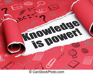 kenntnis, text, zerrissene , power!, papier, schwarz, lernen, unter, stück, concept:
