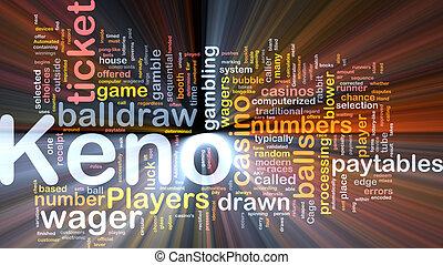 Keno gambling, background concept glowing