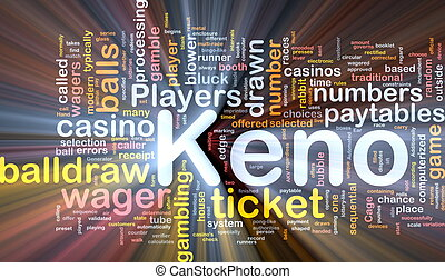 Keno gambling, background concept glowing