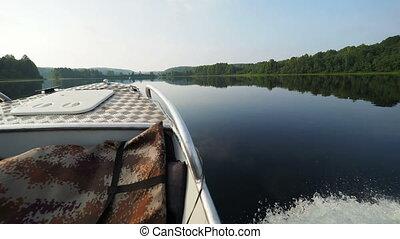 Kenozero lake and Islands. Shooting from a moving motor...