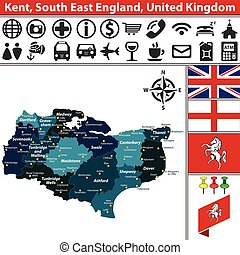 Vector map of Kent, South East England, United Kingdom with regions and flags