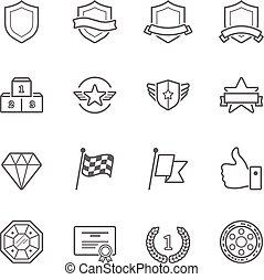 kentekens, prijzen, vector, schets, slag