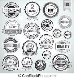 kentekens, stickers, set, zilver