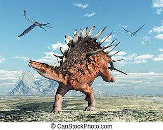 Kentrosaurus and Quetzalcoatlus - Computer generated 3D...