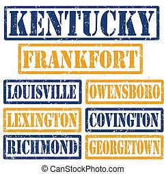 Kentucky Cities stamps - Set of Kentucky cities stamps on...