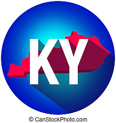 Kentucky KY Letters Abbreviation Red 3d State Map Long Shadow Circle