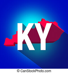 Kentucky KY letters on a 3d map of the state as part of the USA United States of America, with long shadow