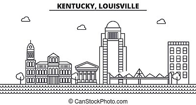 Kentucky, Louisville architecture line skyline illustration. Linear vector cityscape with famous landmarks, city sights, design icons. Editable strokes