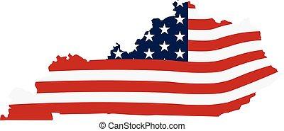 Kentucky patriotic map. Vector graphic design illustration
