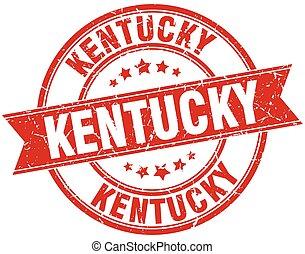 Kentucky red round grunge vintage ribbon stamp