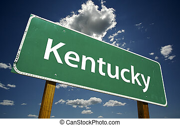 Kentucky Road Sign with dramatic clouds and sky.