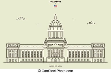 Kentucky State Capitol in Frankfort, USA. Landmark icon in linear style