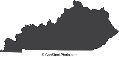 Kentucky state map in black on a white background. Vector illustration