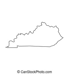 Kentucky, state of USA - solid black outline map of country area. Simple flat vector illustration.