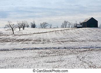 Kentucky Winter - Kentucky farm winter landscape with barn