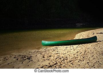 kenu, képben látható, a, tengerpart