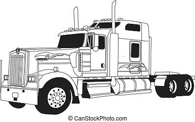 Kenworth Truck - line drawn kenworth truck. Vector, screen ...