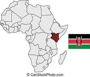 kenya, 地図, そして, 旗