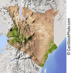 kenya, 影で覆われる, 立体模型地図