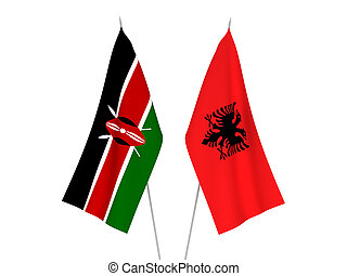 Kenya and Albania flags - National fabric flags of Kenya and...