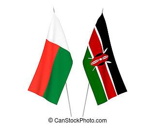 Kenya and Madagascar flags - National fabric flags of Kenya ...
