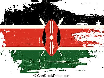 kenya, arranhado, bandeira