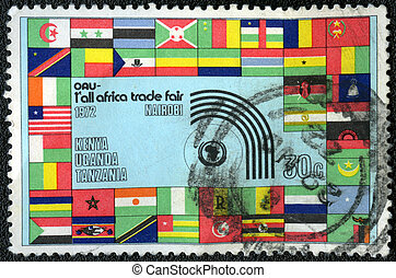KENYA - CIRCA 1972: A stamp printed in Kenya, shows flags of Africa, devoted First All Africa Trade Fair in Nairobi, circa 1972