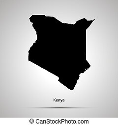 Kenya country map, simple black silhouette on gray