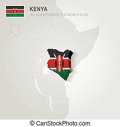 Kenya drawn on gray map