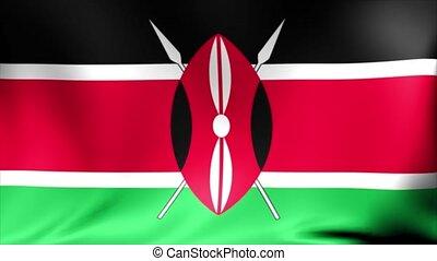 Kenya Flag. Background Seamless Looping Animation. 4K High Definition Video.
