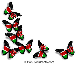 Kenya flag butterflies, isolated on white background