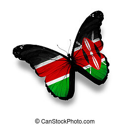 Kenya flag butterfly, isolated on white