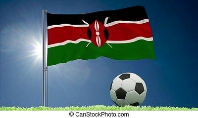 Kenya flag fluttering and football rolls - Flag of Kenya...