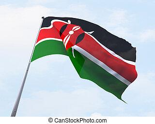 Kenya flag flying on clear sky.