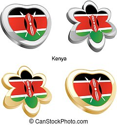 kenya flag in heart and flower