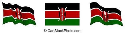 Kenya flag in static position and in motion, fluttering in ...