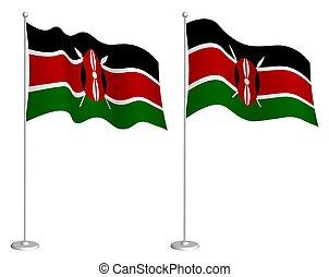 Kenya flag on flagpole waving in wind. Holiday design ...