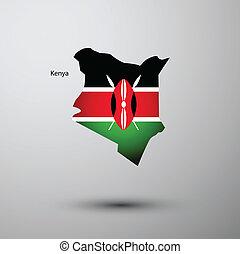 Kenya flag on map