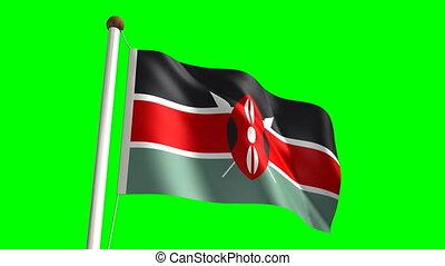 Kenya flag video (seamless & green screen)