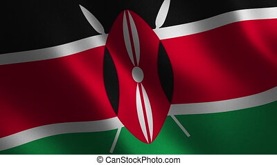 Kenya flag waving 3d. Abstract background. Loop animation....