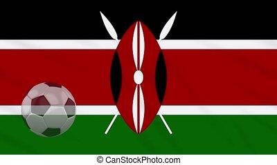 Kenya flag waving and soccer ball rotates, loop - Kenya flag...
