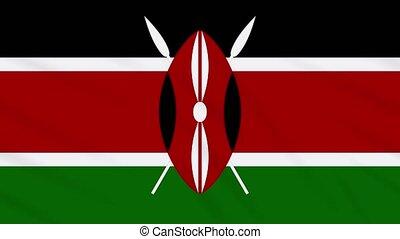 Kenya flag waving cloth, background loop - Kenya flag waving...
