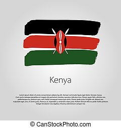Kenya Flag with colored hand drawn lines in Vector Format