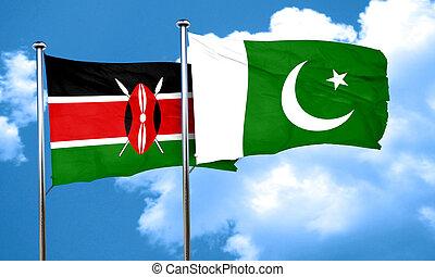 Kenya flag with Pakistan flag, 3D rendering